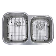 60/40 Double Bowl 16 Gauge Kitchen Sink with Cutting Board, Grids and Colander Drains
