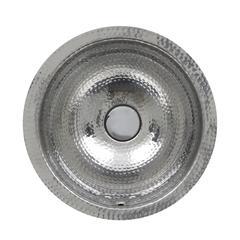 13 Inch Hand Hammered Stailess Steel Round Undermount Bathroom Sink With Overflow
