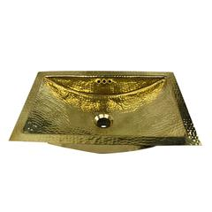 TRB2416-OF - 23.5 Inch X 15.5 Inch Hand Hammered Brass Rectangle Undermount Bathroom Sink with Overflow