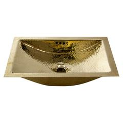 TRB-OF - 19.8 InchX 12.8 Inch Hand Hammered Brass Rectangle Undermount Bathroom Sink with Overflow