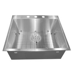 ZR2522-16 - 25 Inch Pro Series Small Rectangle Single Bowl Self Rimming Zero Radius Stainless Steel Drop In Kitchen Sink (3 Hole), 16 Gauge