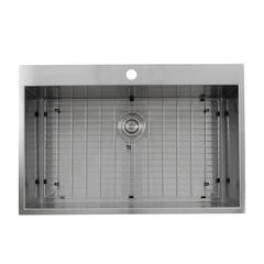 ZR3322-S-16 - 33 Inch Large Rectangle Single Bowl Self Rimming Zero Radius Stainless Steel Drop In Kitchen Sink, 16 Gauge -1 Hole