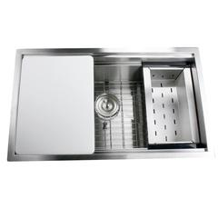 ZR-PS-3018-16 - 30 Inch Pro Series Large Rectangle Single Bowl Undermount Stainless Steel Kitchen Sink, With Included Grid, Colander And Cutting Board