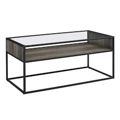 "40"" Metal and Glass Coffee Table with Open Shelf - Grey Wash"