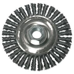 Stringer Bead Wheel Brush, 4in Diameter, Stainless Steel, .02in Wire