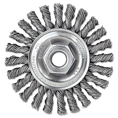 "Dualife Twist-Knot Wire Wheel, 4"" dia, 7/8"" Trim .02 Wire, 5/8"" Arbor"
