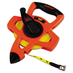 "Lufkin Engineer Hi-Viz Fiberglass Measuring Tape, 1/2""x100ft, Yellow Blade, Orange Case"