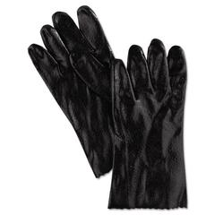 "Memphis Single Dipped PVC Gloves, Rough Finish, Interlock Lined, 12"" Length, Lrg, Black"