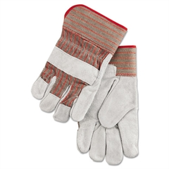 Economy Grade Leather Gloves, White/Red, Large
