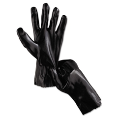 "Memphis Single Dipped PVC Gloves, Smooth Finish, Interlock Lined, 12"" Length, Lrg, Black"