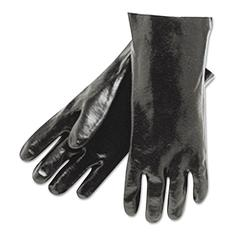 "Memphis Single Dipped PVC Gloves, Smooth Finish, Interlock Lined, 18"" Length, Lrg, Black"
