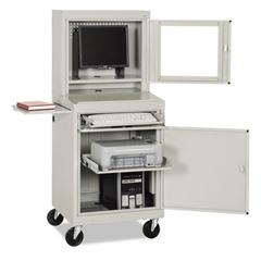 Sandusky Lee Mobile Computer Security Cabinet, 26w x 24d x 63h, Dove Gray