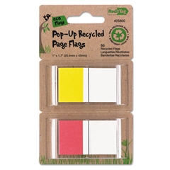 Redi-Tag Recycled Page Flags in Pop-Up Dispenser, 1 x 1-7/10, Red/Yellow, 50 per Pack