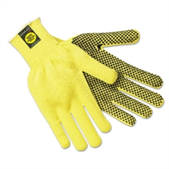 Kevlar Gloves, Large, Coated String Knit/Kevlar, PVC Dots