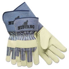 "Mustang Premium Grain-Leather-Palm Gloves, 4-1/2"" Long, Medium"
