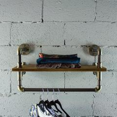 P27-BB 27 inch Decorate Pipe Shelf and Clothes Rack with Reclaimed-Aged Wood Finish.