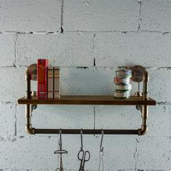 P27-RB 27 inch Decorate Pipe Shelf and Clothes Rack with Reclaimed-Aged Wood Finish.