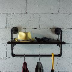 P27-BS 27 inch Decorate Pipe Shelf and Clothes Rack with Reclaimed-Aged Wood Finish.