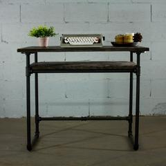 PDSK-BS Industrial vintage  Home Office Pipe Desk with Lower Shelf  Metal with Reclaimed Aged-Wood Finish