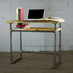 PDSK-BB Industrial vintage  Home Office Pipe Desk with Lower Shelf  Metal with Reclaimed Aged-Wood Finish