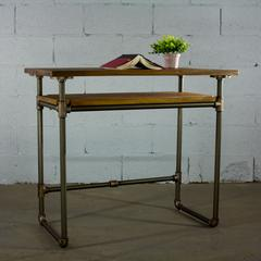PDSK-RB Industrial vintage  Home Office Pipe Desk with Lower Shelf  Metal with Reclaimed Aged-Wood Finish