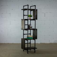 P69-BS Industrial  69-Inch Tall  5-Shelf Open  Pipe Bookcase Display  Metal with Reclaimed Wood Finish