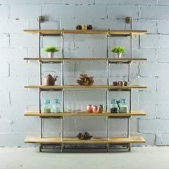 PE64-BB  Industrial  64-inch wide 5-shelf Pipe Bookcase with  Reclaimed-Aged Wood Finish