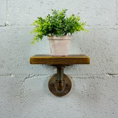 P8-RB  8-inch decorative single wall mounted pipe shelf  metal and reclaimed-aged wood finish