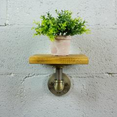 P8-BB  8-inch decorative single wall mounted pipe shelf  metal and reclaimed-aged wood finish