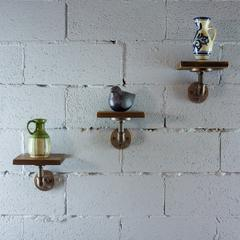 P3P-RB Industrial 8-Inch 3-Piece Wall Mounted Pipe Shelf  Metal with Reclaimed-Aged Wood Finish
