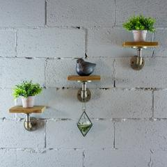 P3P-BB Industrial 8-Inch 3-Piece Wall Mounted Pipe Shelf  Metal with Reclaimed-Aged Wood Finish