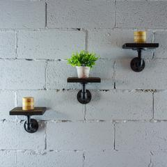 P3P-BS Industrial 8-Inch 3-Piece Wall Mounted Pipe Shelf  Metal with Reclaimed-Aged Wood Finish