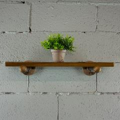 P24-RB 24 inch x 10 inch Decorative Wall Mounted Single Pipe Shelf with Reclaimed-Aged Wood Finish.