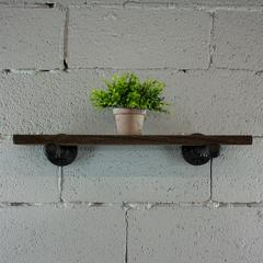 P24-BS 24 inch x 10 inch Decorative Wall Mounted Single Pipe Shelf with Reclaimed-Aged Wood Finish.
