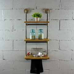 P3T-BB  3-Tiered Wall-Mounted Pipe Shelf Rack With Reclaimed Aged-Wood Finish.