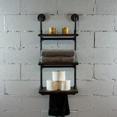 P3T-BS  3-Tiered Wall-Mounted Pipe Shelf Rack With Reclaimed Aged-Wood Finish.