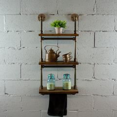 P3T-RB  3-Tiered Wall-Mounted Pipe Shelf Rack With Reclaimed Aged-Wood Finish.