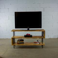 PTV-BB modern industrial  TV stand living room rec room office  metal with reclaimed-aged wood finish