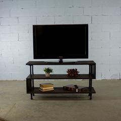 PTV-BS modern industrial  TV stand living room rec room office  metal with reclaimed-aged wood finish