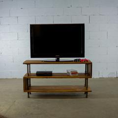 Modern industrial  TV stand living room rec room office  metal with reclaimed-aged wood finish