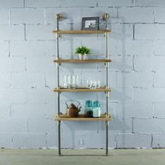 P67-BB lndustrial  67-inch tall 4-shelf Open Bookcase and Display Unit with Reclaimed Wood Finish