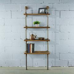 P67-RB lndustrial  67-inch tall 4-shelf Open Bookcase and Display Unit with Reclaimed Wood Finish