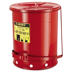 Justrite Red Oily Waste Can, 14gal, Lever Lid