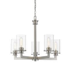 3 Light Flush Mount, Brass and Brass