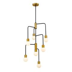 3 Light Semi Flush Mount, Satin Gold and Clear Seedy