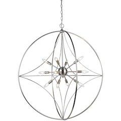 12 Light Pendant, Brushed Nickel