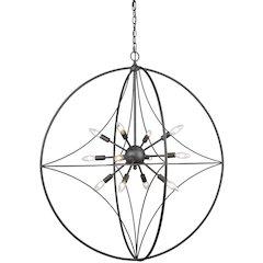 12 Light Pendant, Bronze