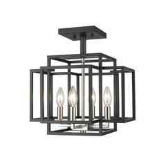 Titania Semi Flush Mount, Black + Brushed Nickel