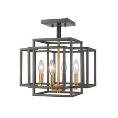 Titania Semi Flush Mount, Bronze + Olde Brass
