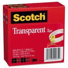 "Scotch Transparent Tape 600 2P34 72, 3/4"" x 2592"", 3"" Core, Transparent, 2/Pack"